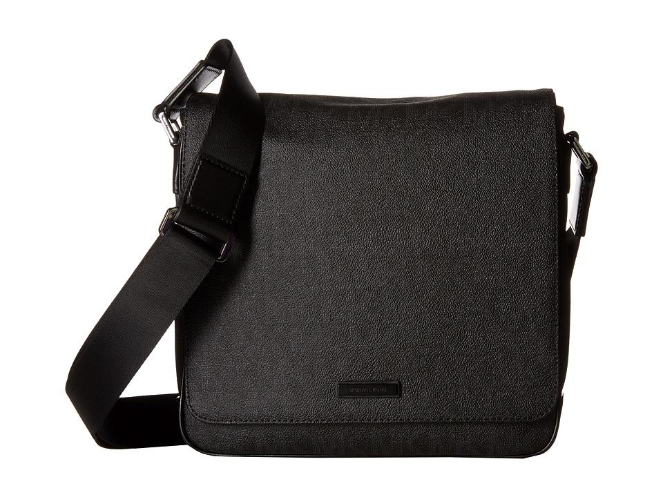 Michael Kors - Jet Set Medium Flap Messenger (Black) Messenger Bags