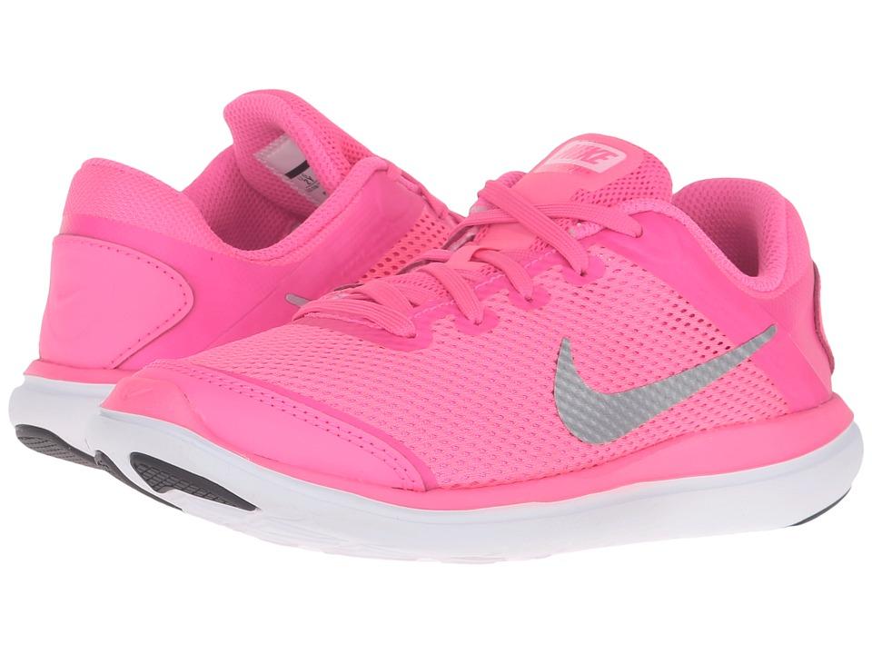 Nike Kids Flex 2016 RN (Little Kid) (Pink Blast/Black/Hyper Pink/Metallic Silver) Girls Shoes