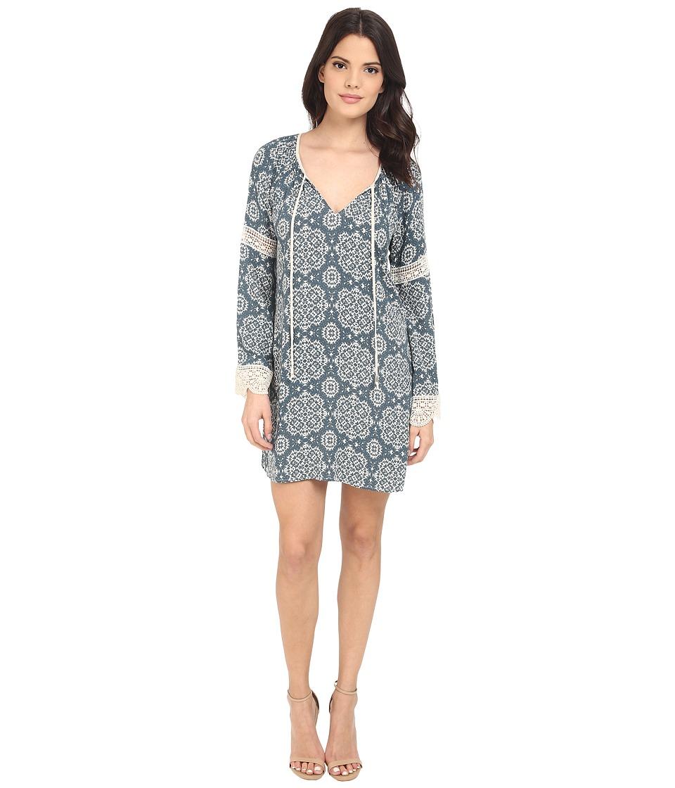 Brigitte Bailey Camille Raglan Lace Trim Dress Teal/Cream Womens Dress