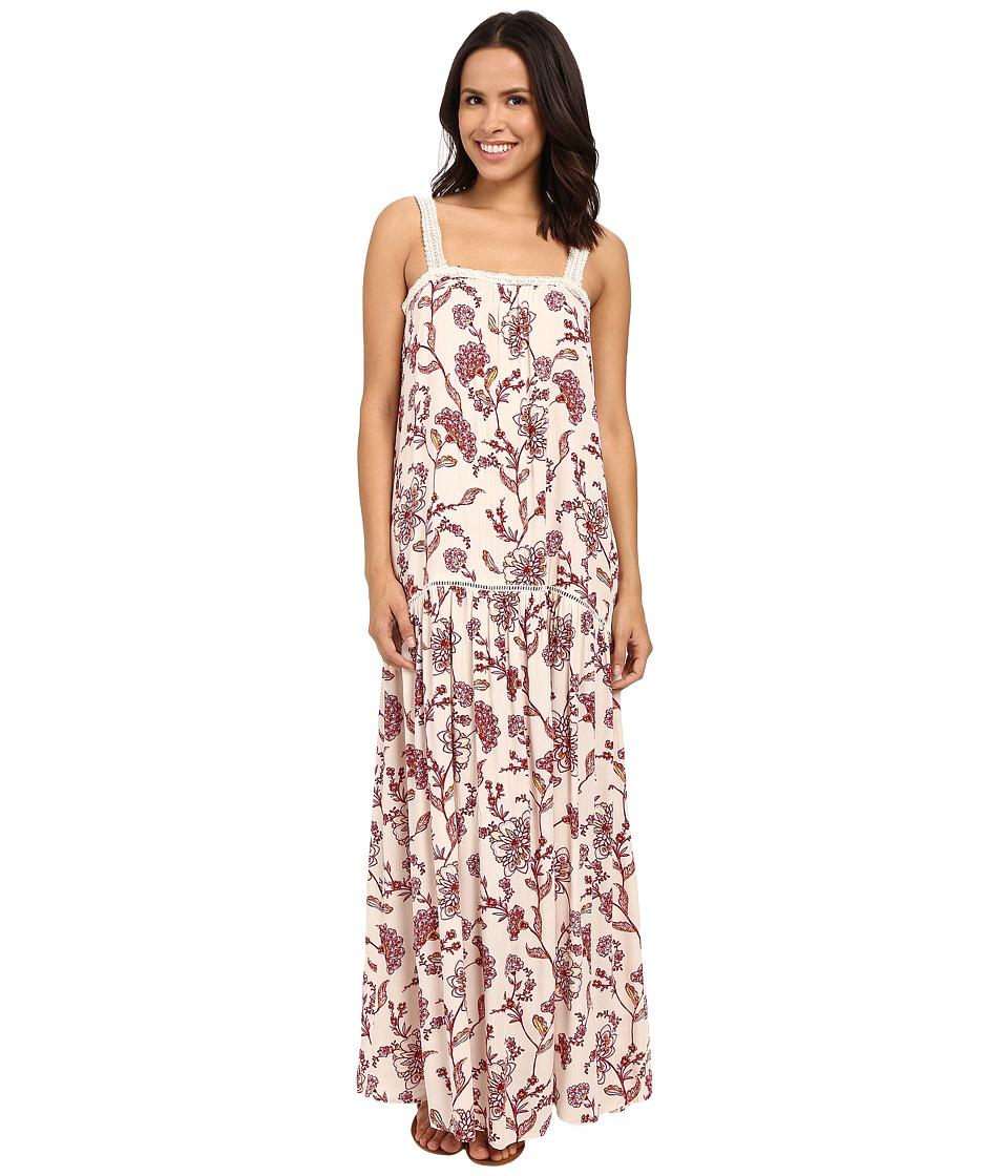 Brigitte Bailey Candice Floral Maxi Dress with Lace Trim Beige/Burgundy Womens Dress