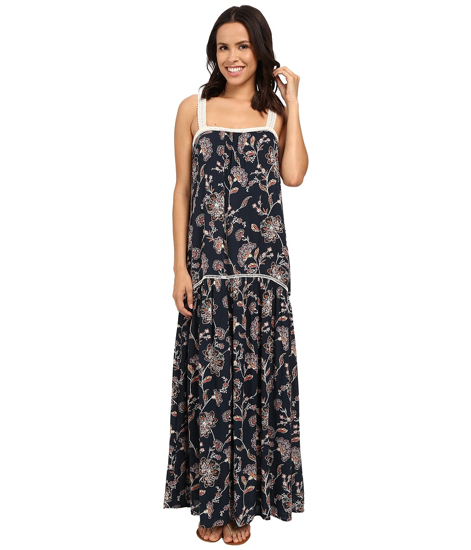 Brigitte Bailey Candice Floral Maxi Dress with Lace Trim Navy/Multi Womens Dress