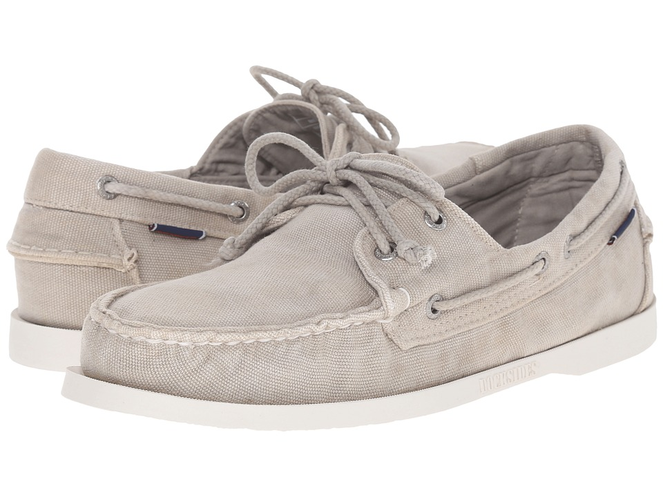 Sebago Canvas Dockside Beige Canvas Mens Shoes