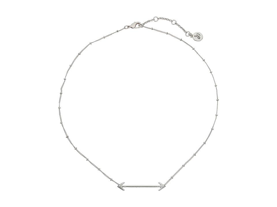 Sam Edelman Double Arrow Bar Necklace 16 Rhodium Necklace