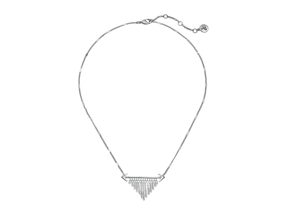 Sam Edelman Double Arrow Fringe Necklace 16 Rhodium Necklace