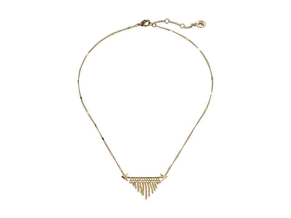 Sam Edelman Double Arrow Fringe Necklace 16 Gold Necklace