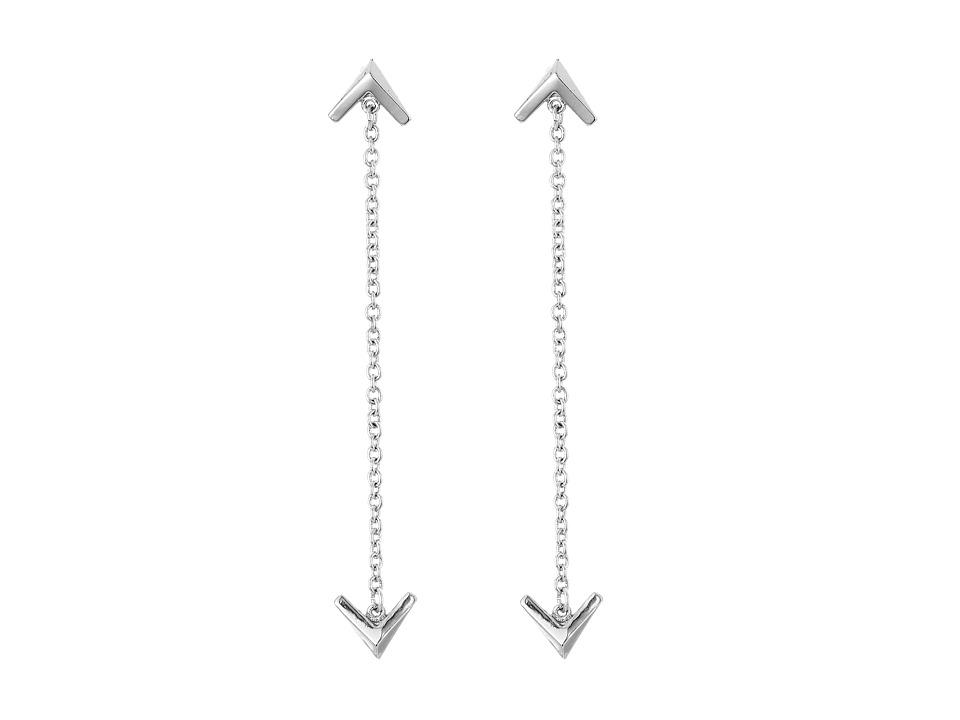Sam Edelman Double V Chain Drop Earrings Rhodium Earring