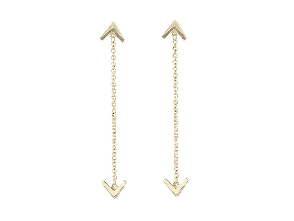 Sam Edelman Double V Chain Drop Earrings Gold Earring