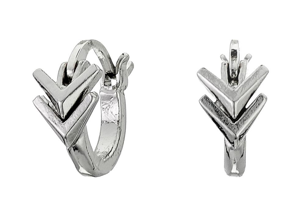 Sam Edelman Double V Huggie Hoop Earrings Rhodium Earring
