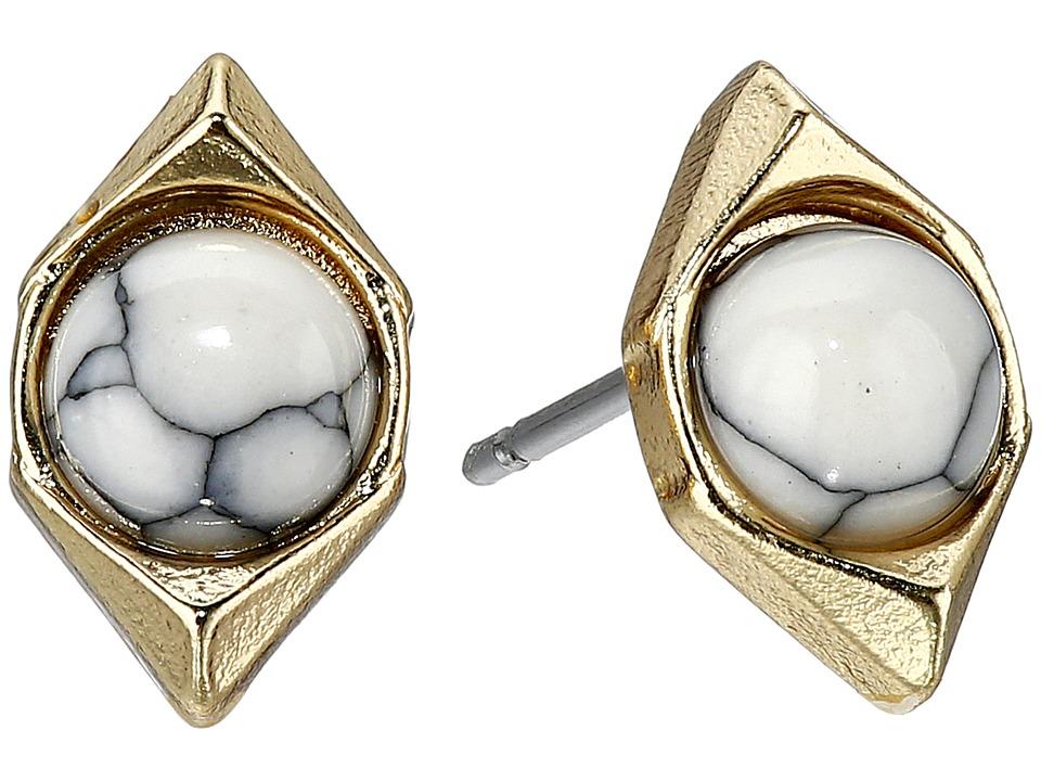Sam Edelman Double V Stone Stud Earrings White Earring