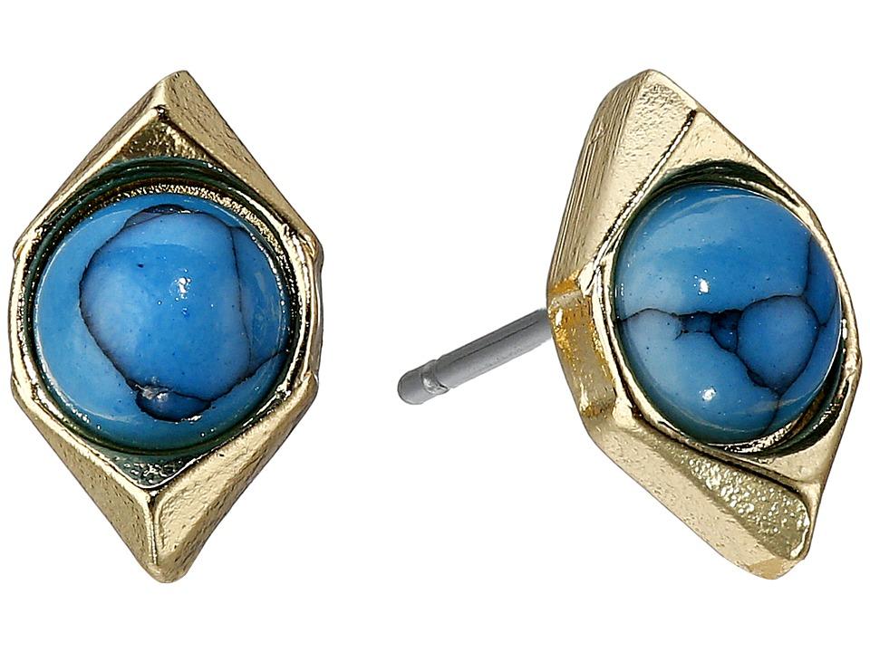 Sam Edelman Double V Stone Stud Earrings Turquoise Earring