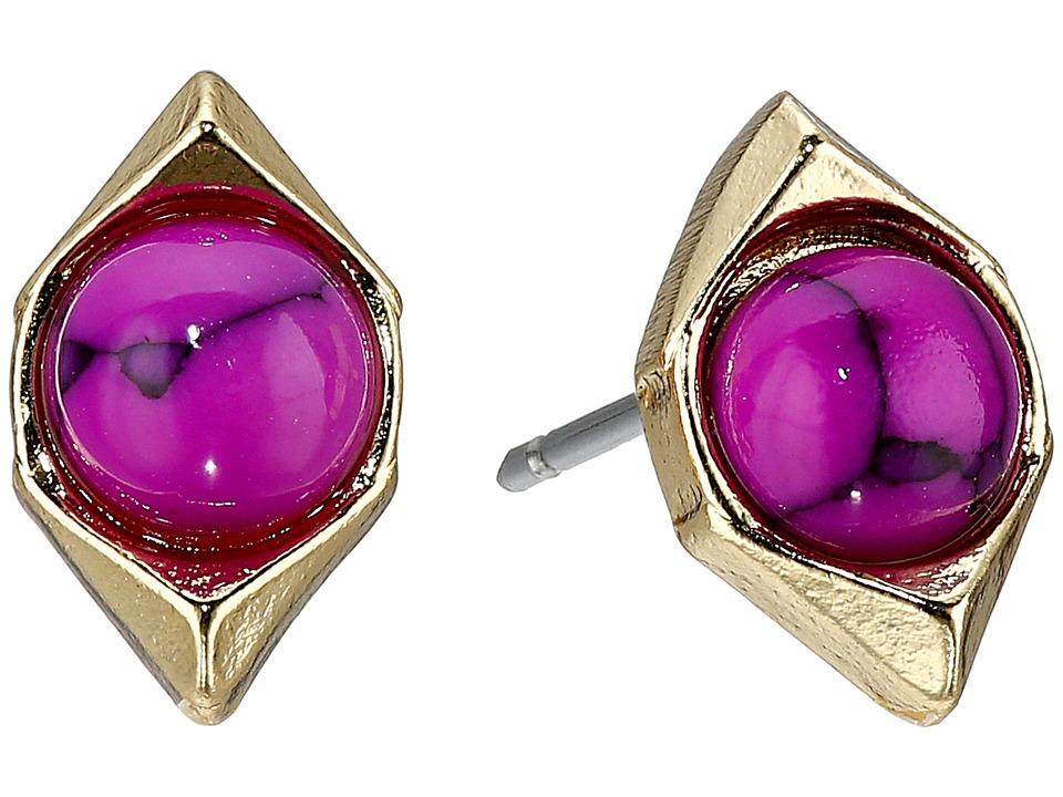 Sam Edelman Double V Stone Stud Earrings Fuchsia Earring