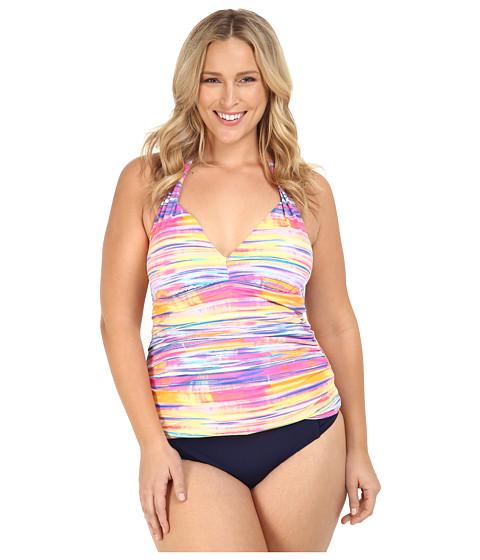 LAUREN Ralph Lauren - Plus Size Summer Tie-Dye Stripe Halterkini w/ Removable Cups Slimming Fit (Multi) Women's Swimwear