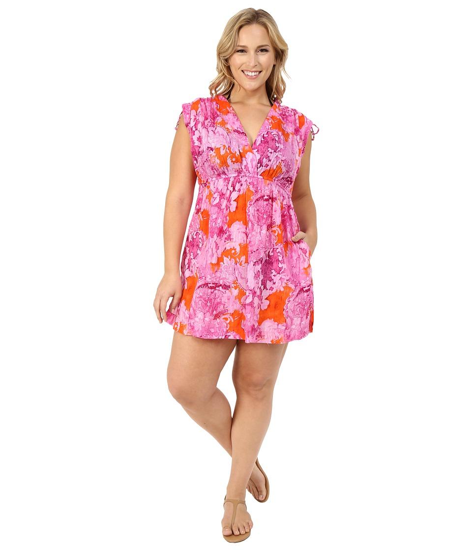 LAUREN Ralph Lauren Plus Size Oceania Floral Farrah Dress 100 Crushed Cotton Cover Up Pink Multi Womens Swimwear