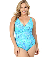 LAUREN Ralph Lauren - Plus Size Oceania Floral Over the Shoulder Twist Shirred Mio w/ Slimming Fit & Removable Cups