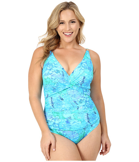 LAUREN Ralph Lauren Plus Size Oceania Floral Over the Shoulder Twist Shirred Mio w/ Slimming Fit & Removable Cups