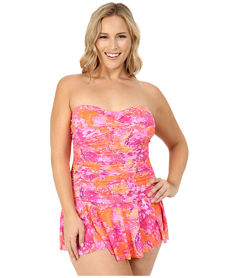LAUREN Ralph Lauren Plus Size Oceania Floral Twist Shirred Skirted One-Piece Slimming Fit w/ Molded Cup
