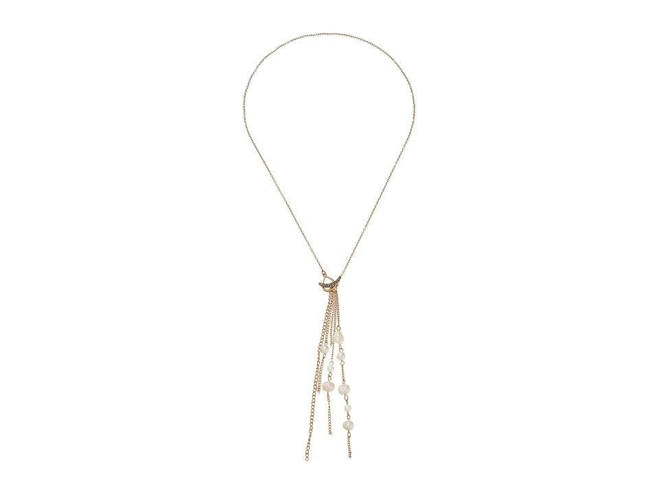 The Sak Beaded Tassel Y Neck Necklace 18 White Necklace
