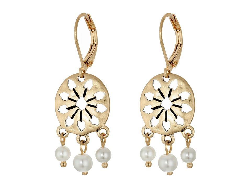 The Sak 3 Bead Disc Drop Earrings White Earring