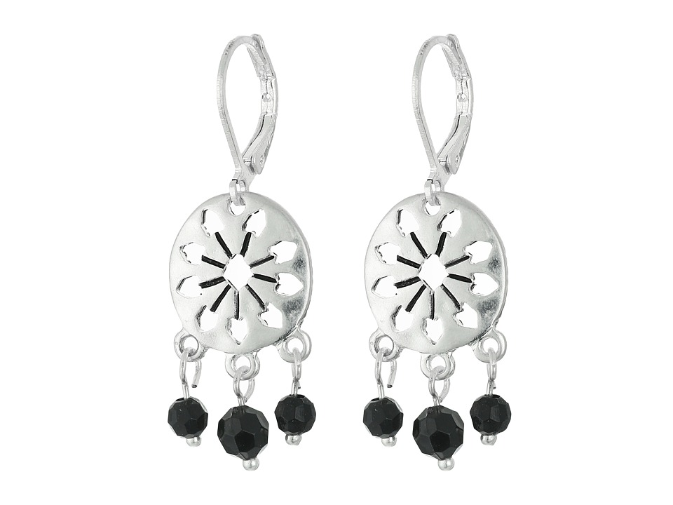 The Sak 3 Bead Disc Drop Earrings Black/Silver Earring