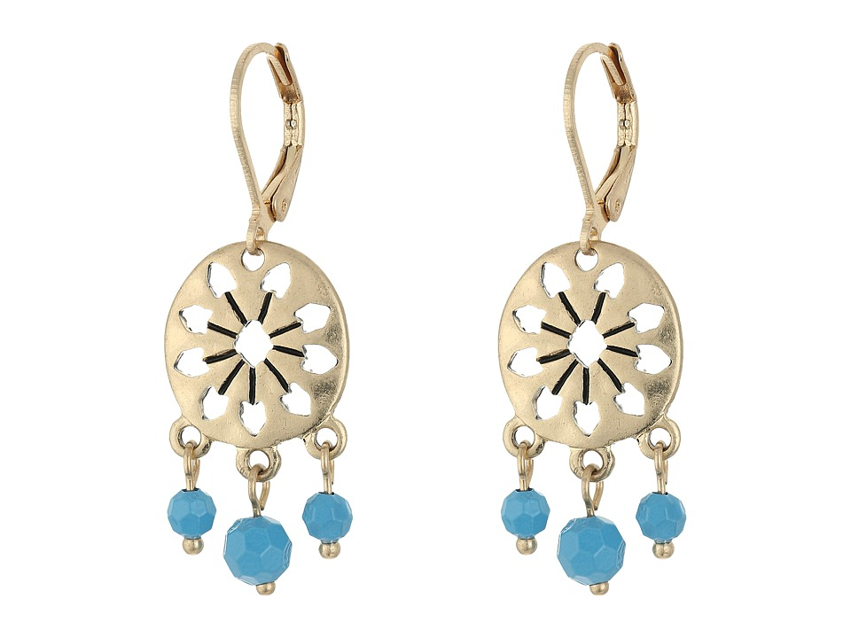 The Sak 3 Bead Disc Drop Earrings Blue Earring