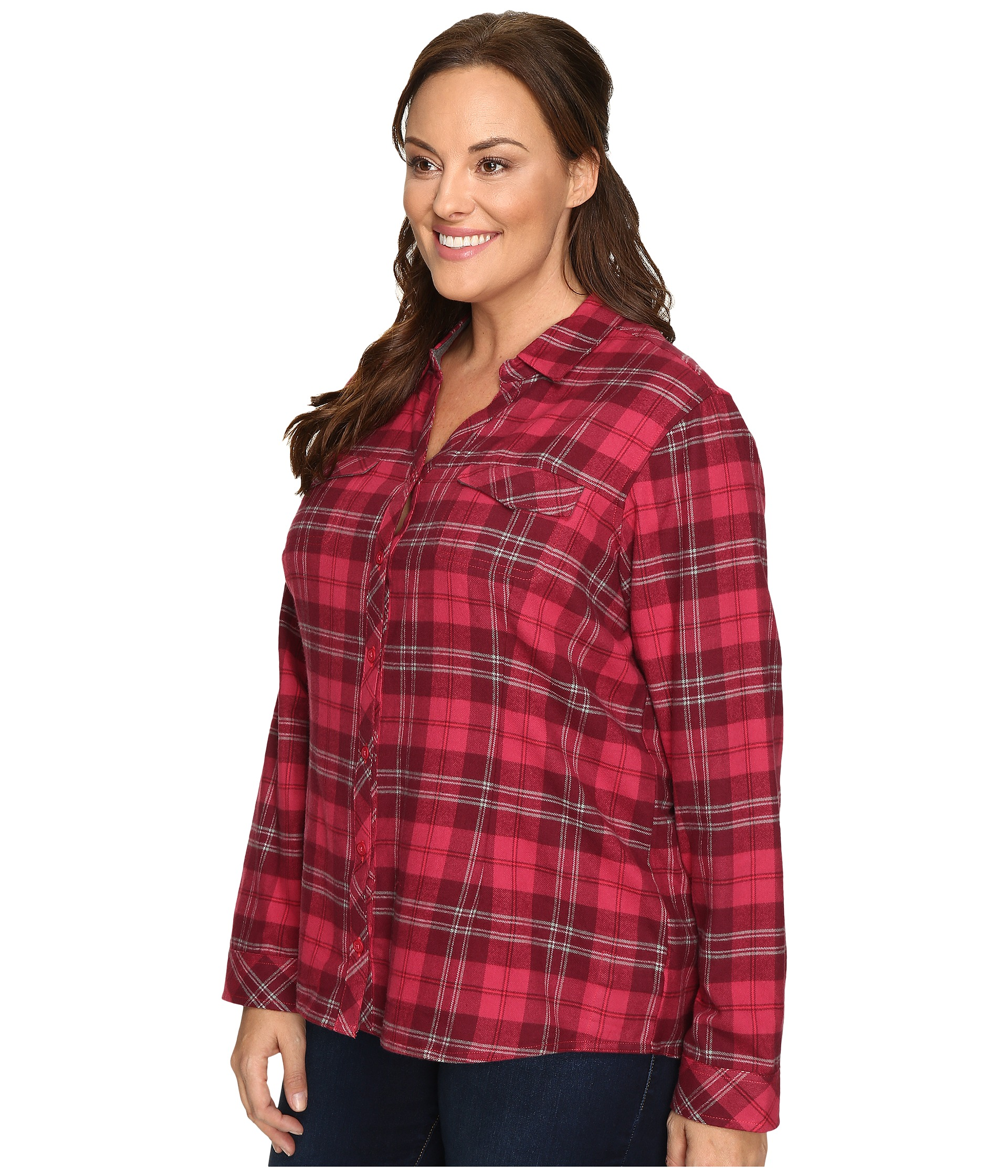 Columbia plus size simply put ii flannel shirt purple for Plus size plaid flannel shirt