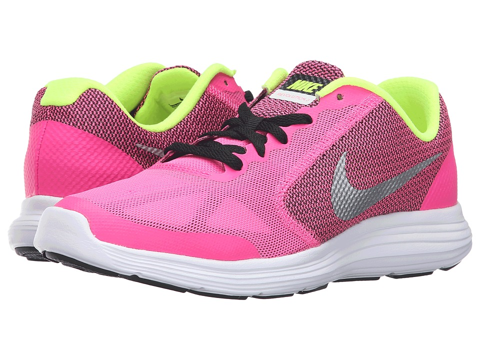 Nike Kids Revolution 3 (Big Kid) (Pink Blast/Black/White/Metallic Silver) Girls Shoes