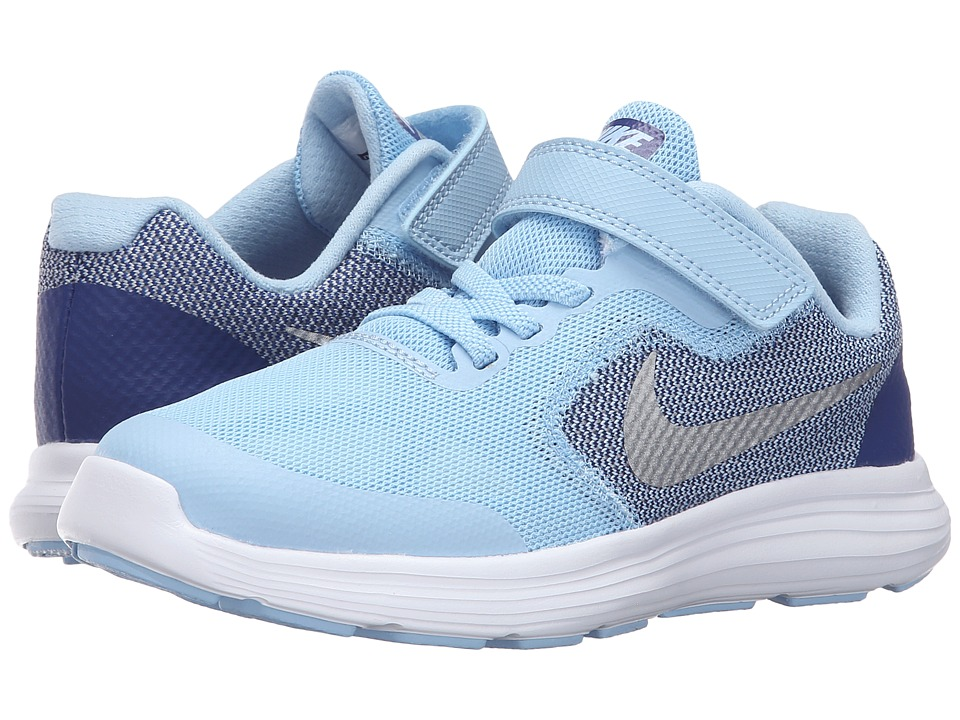 Nike Kids Revolution 3 (Little Kid) (Bluecap/Deep Royal Blue/White/Metallic Silver) Girls Shoes