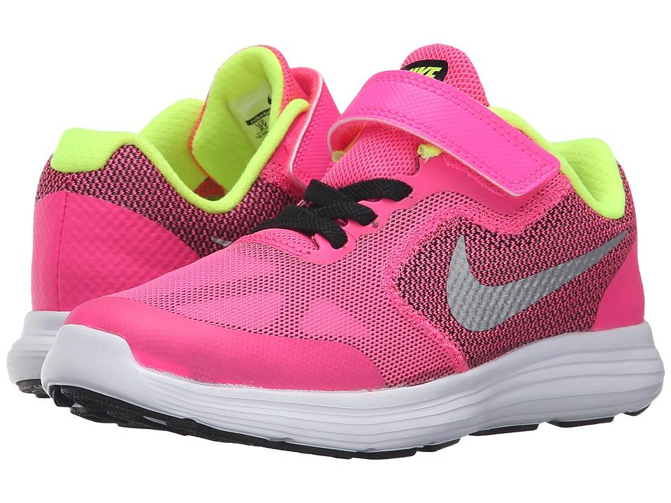 Nike Kids Revolution 3 (Little Kid) (Pink Blast/Black/White/Metallic Silver) Girls Shoes
