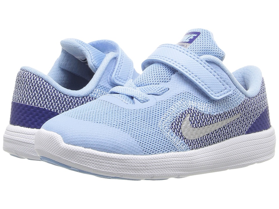 Nike Kids - Revolution 3 (Infant/Toddler) (Bluecap/Deep Royal Blue/White/Metallic Silver) Girls Shoes