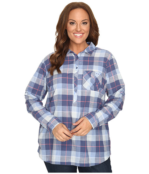 Columbia - Plus Size Coral Springs II Woven Long Sleeve Shirt (Bluebell Plaid) Women's Long Sleeve Button Up