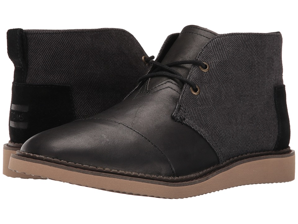TOMS Mateo Chukka Boot (Black Herringbone/Leather) Men