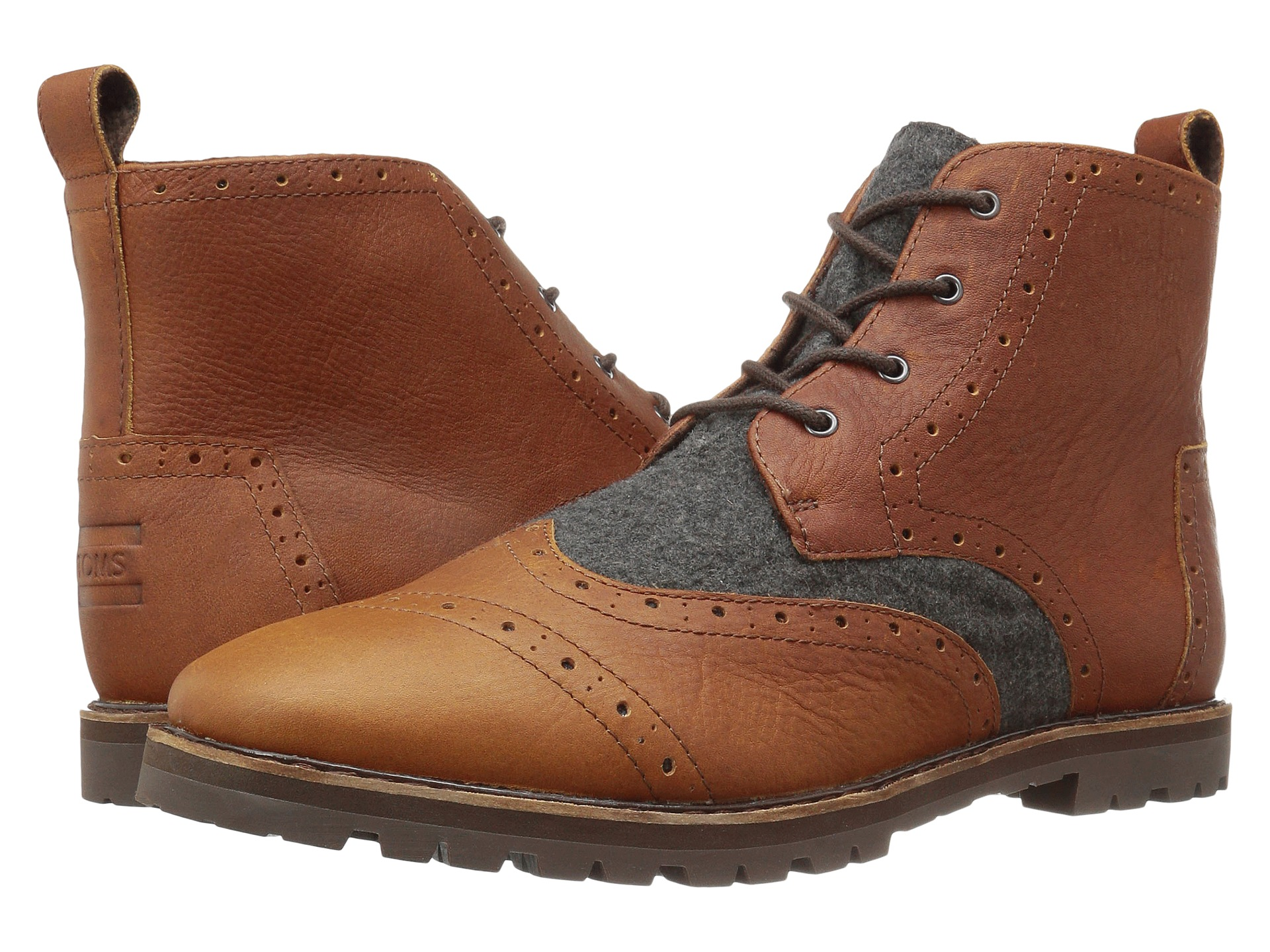 toms brogue boot brown leather grey wool zappos free