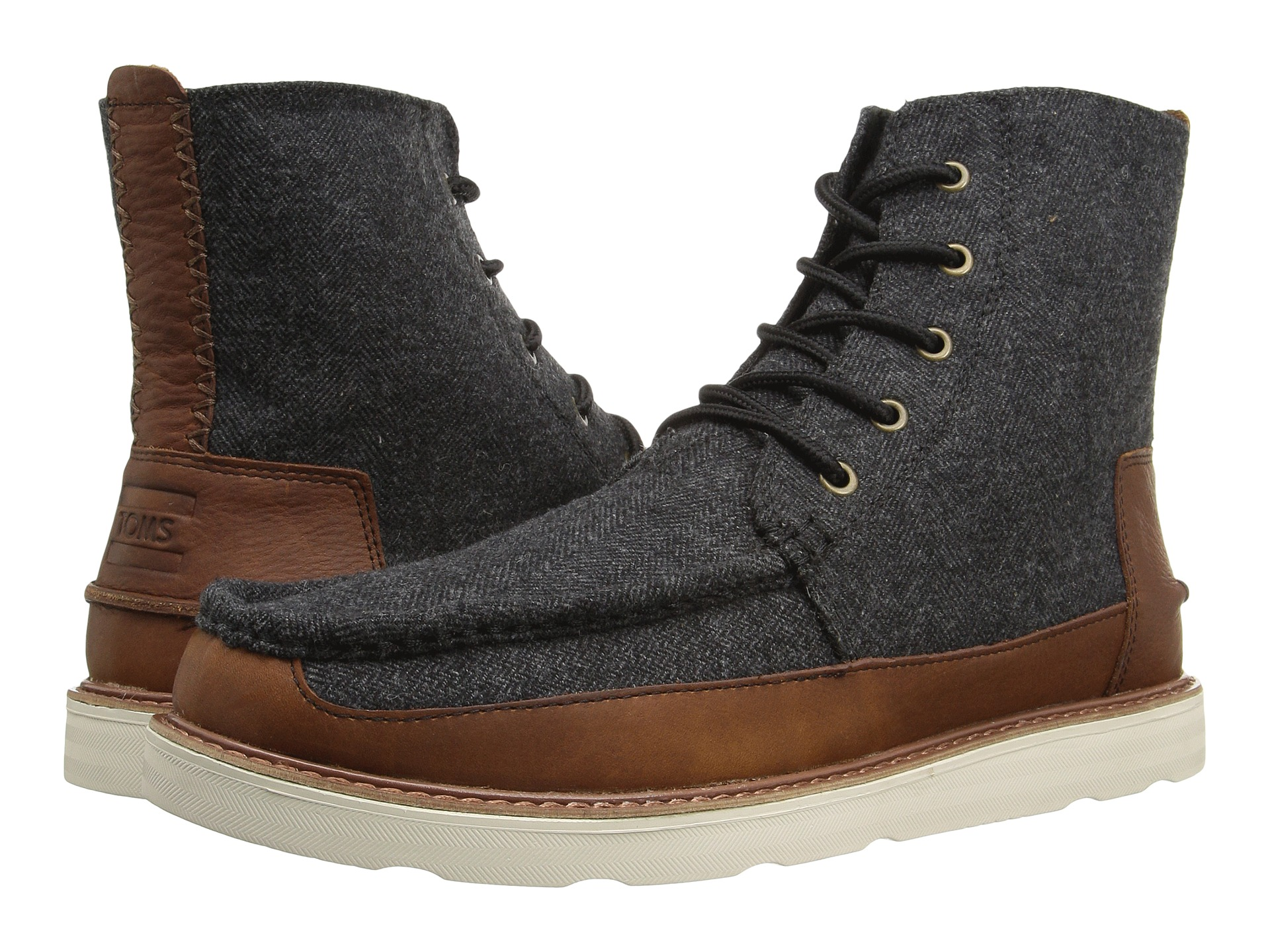 toms searcher boot grey herringbone brown leather zappos
