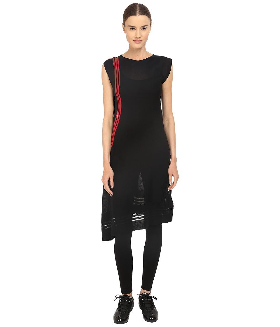 adidas Y 3 by Yohji Yamamoto W Knit Tunic Black/Scarlet Womens Dress