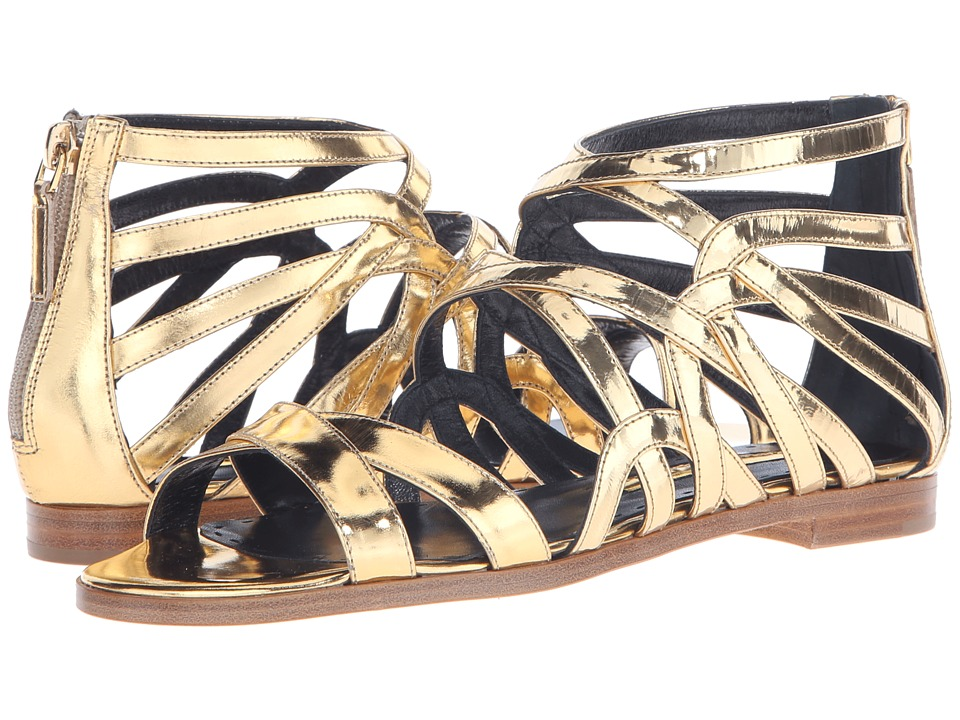Rupert Sanderson Tryst Strappy Sandal Gold Specchio Leather Womens Sandals