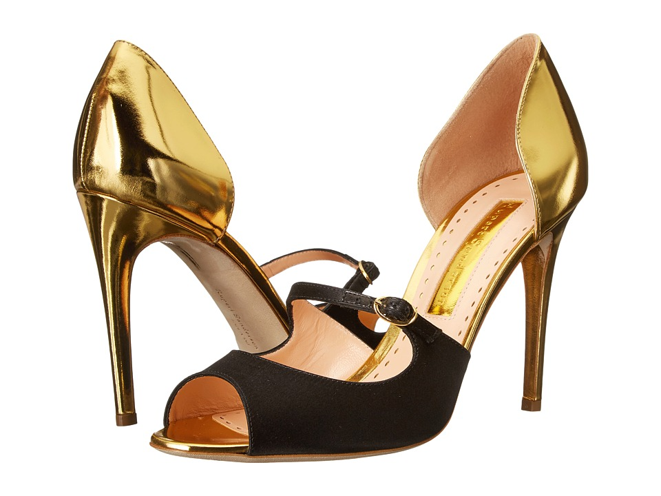 Rupert Sanderson Dorsee Mary Jane Gold Specchio Leather/Black Satin High Heels