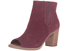 TOMS - Majorca Peep Toe Bootie (Oxblood Suede Perforated)