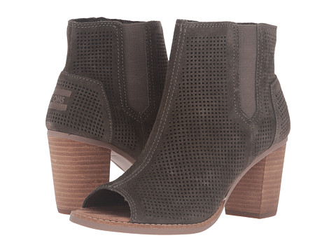 TOMS Majorca Peep Toe Bootie - Tarmac Olive Suede Perforated