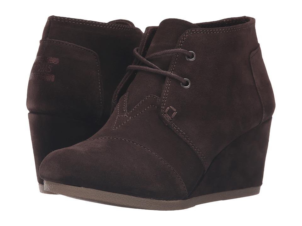 TOMS Desert Wedge (Chocolate Brown Suede) Women