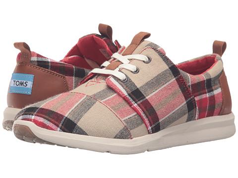TOMS Del Rey Sneaker - Red/Warm Tan Plaid