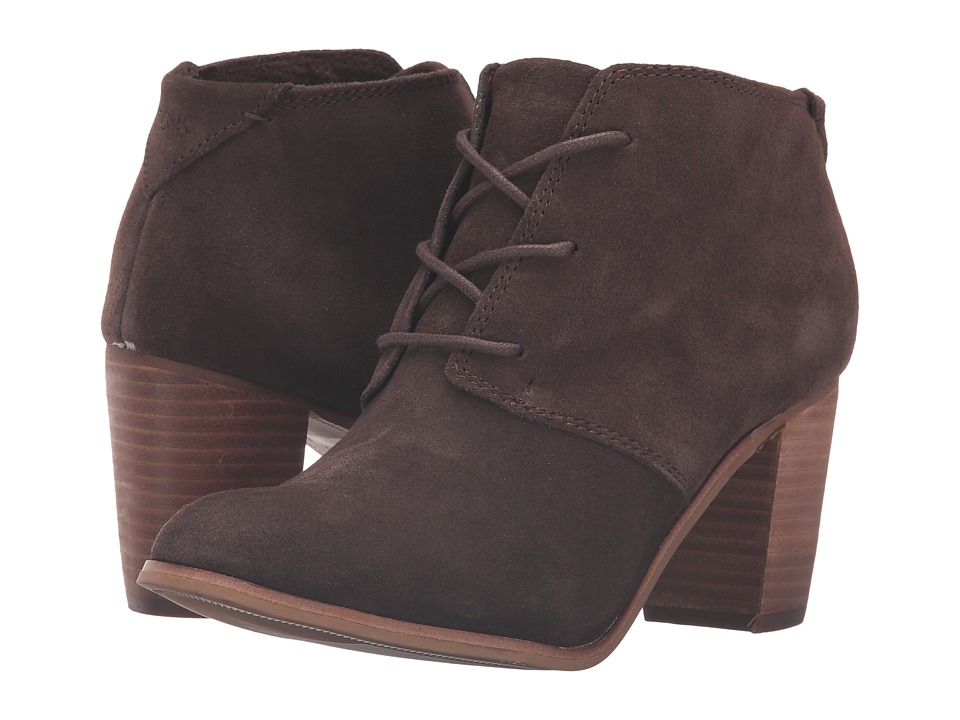 TOMS Lunata Lace-Up Bootie (Chocolate Brown Suede) Women