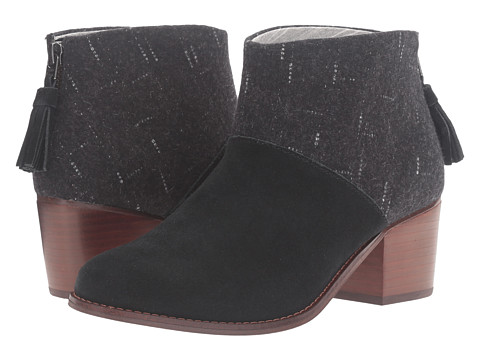 TOMS Leila Bootie - Black Suede/Dotted Wool