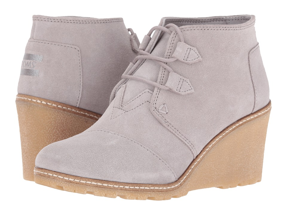 TOMS Desert Wedge (Drizzle Grey Suede/Faux Crepe Wedge) Women
