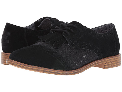 TOMS Brogue Dress Lace-Up - Black Suede/Wool Kiltie