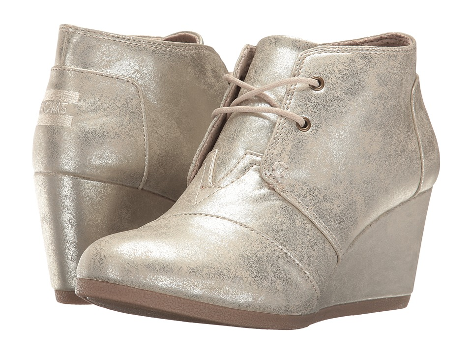 TOMS Desert Wedge (White Gold Metallic Synthetic Leather) Wedges