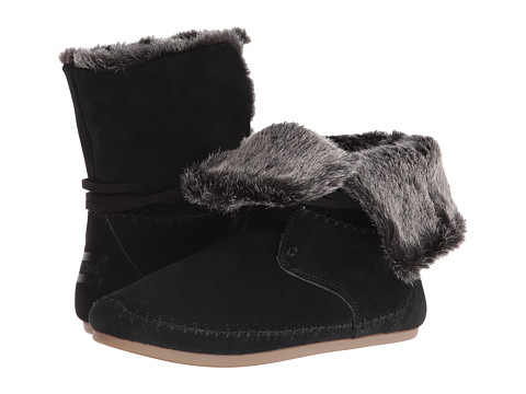 TOMS Zahara Bootie - Black Suede Faux Hair