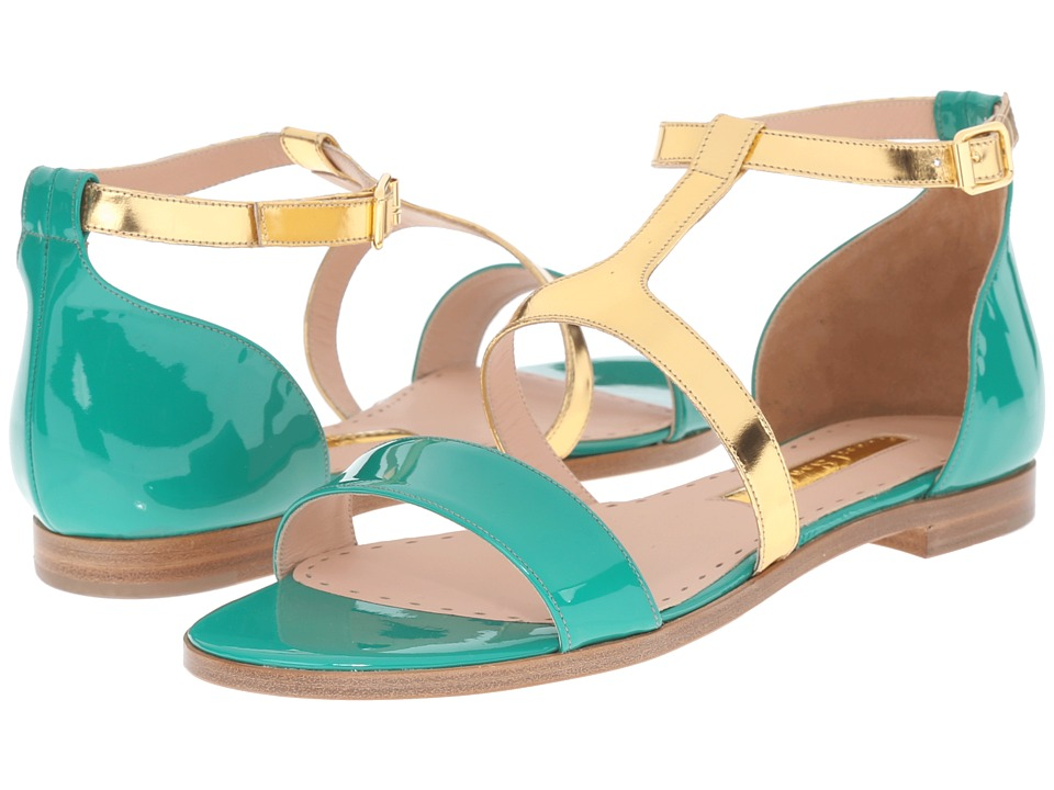 Rupert Sanderson Alva Color Block Flat Sandals Green Meadow Patent/Gold Specchio Womens Sandals