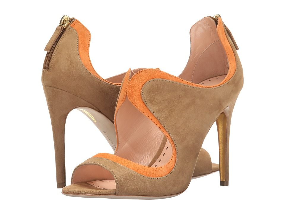 Rupert Sanderson Cut Out Wave Bootie Clay Suede/Ochre Suede High Heels