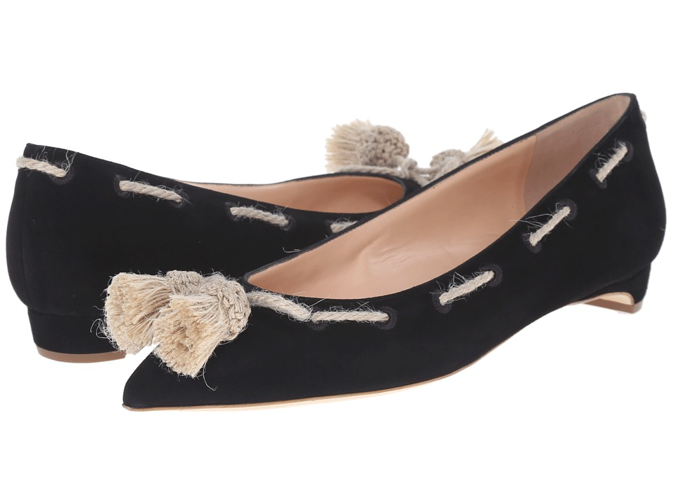 Rupert Sanderson Jamal Suede Flats with Tassels Black Suede Body/Hessian Tassel Womens Flat Shoes