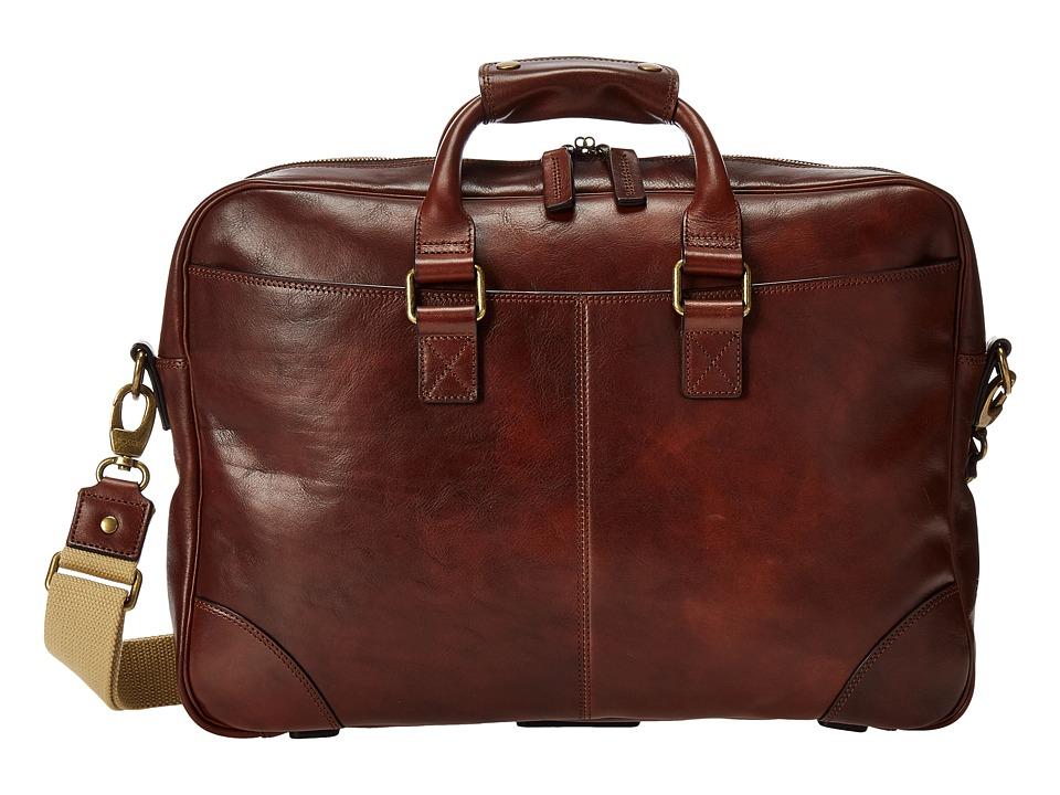 Bosca Dolce Collection Zip Top Brief (Dark Brown) Briefcase Bags